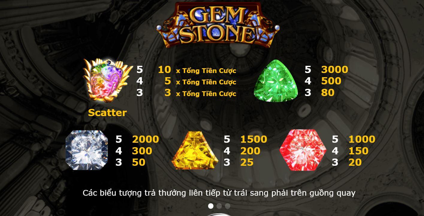Gemstone với 9 biểu tượng quen thuộc và tỉ lệ điểm thưởng của các biểu tượng