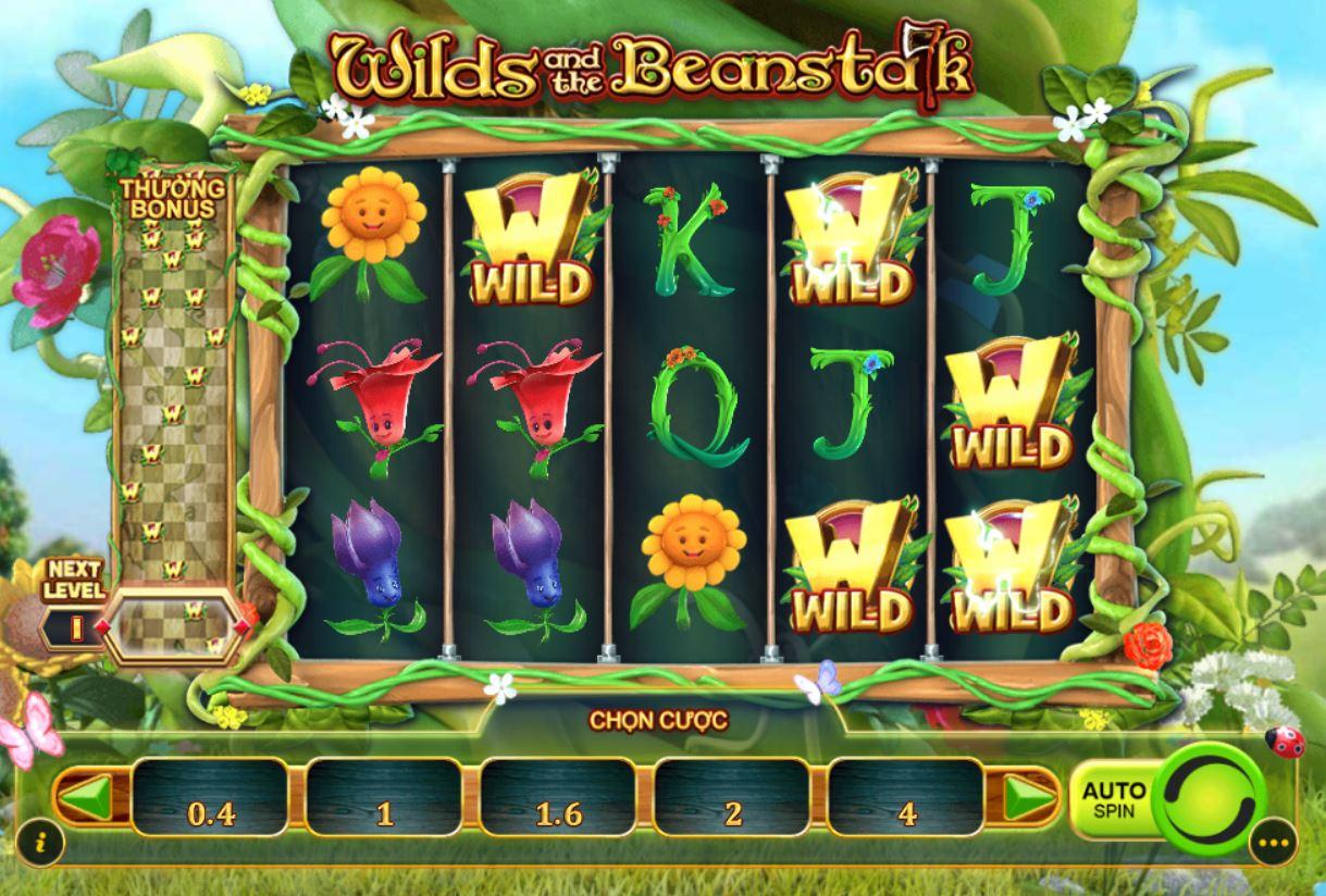 Hướng dẫn cách chơi game quay hũ Wilds And The Beanstalk