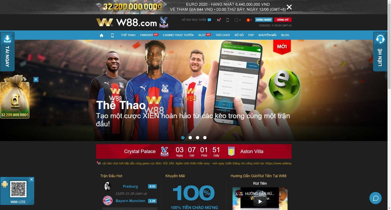 """Giao diện của website W88 """"Real"""" – nhà tài trợ cho CLB Crystal Palace tại Anh Quốc"""