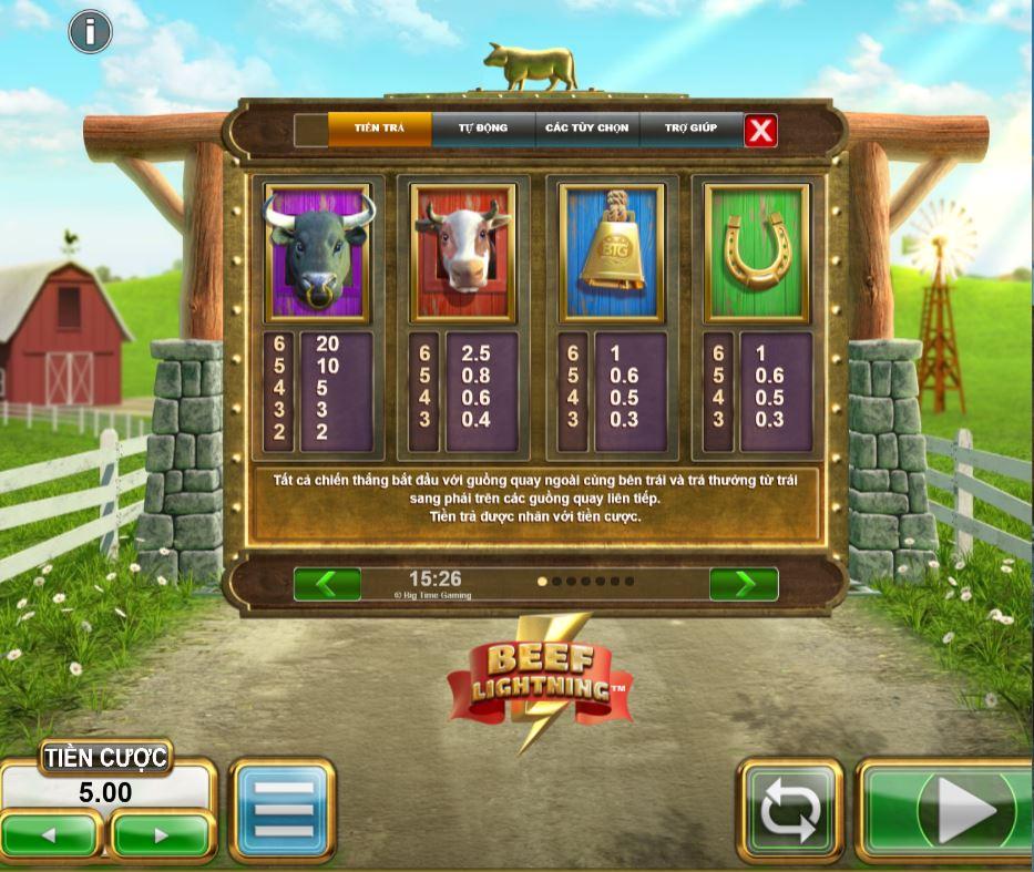 Hướng dẫn chơi game quay hũ Beef Lightning - Cuộc đấu giá bò may mắn